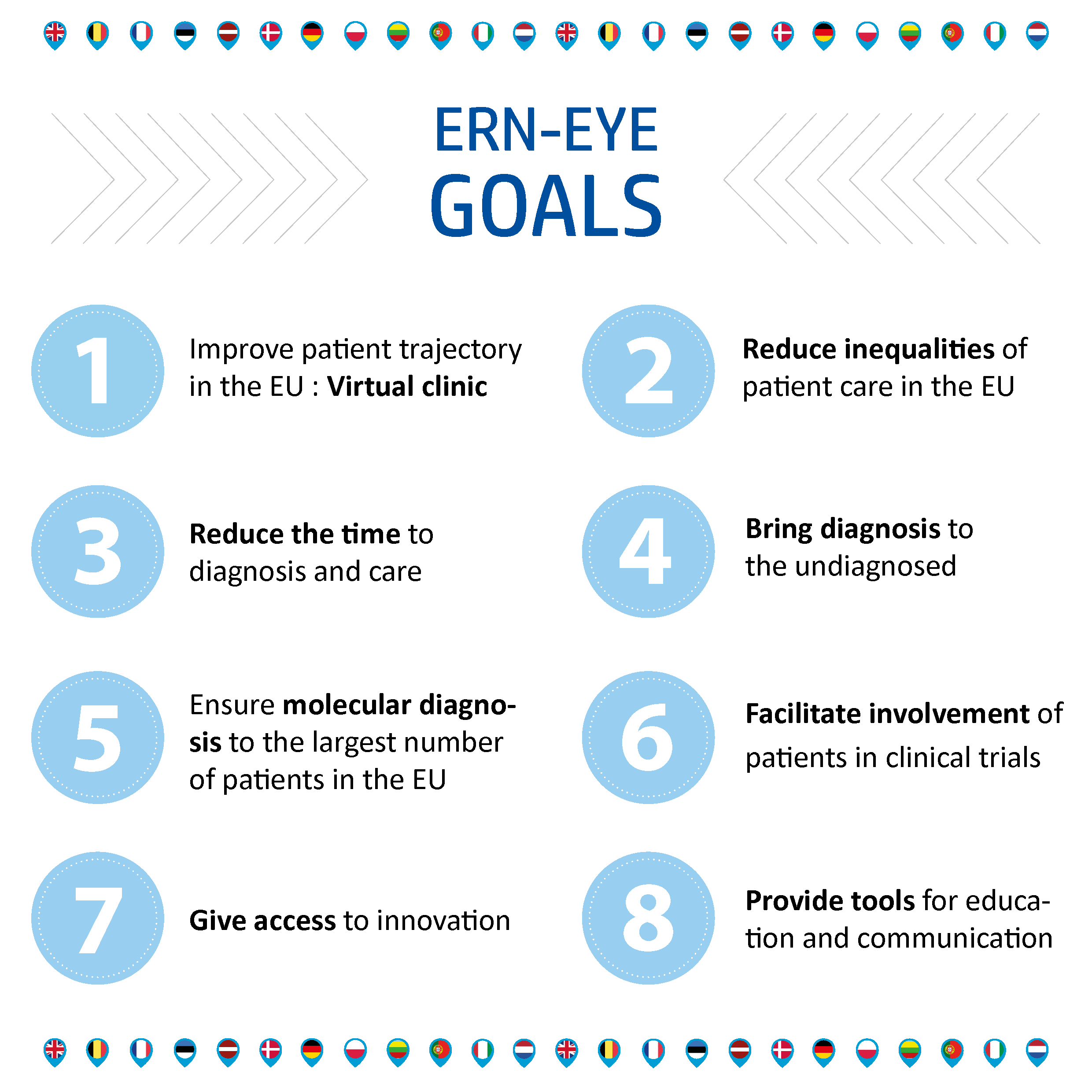 ERns Goals: 1.Improve patient trajectory in the EU ⇒ Virtual clinic 2.Reduce inequalities of patient care in the EU 3.	Reduce the time to diagnosis and care 4.Bring diagnosis to the undiagnosed 5.Ensure molecular diagnosis to the largest number of patient